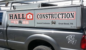 Hall Construction Truck Box Lettering